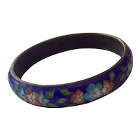 Vintage Cobalt Blue Enamel Cloisonne Bangle with Flowers
