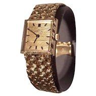 14K Gold Angelus Wristwatch 14K Gold Braided Band Unisex