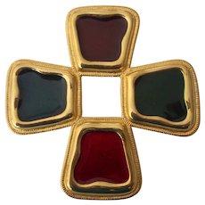 Byzantine Gripoix Maltese Cross Gold tone