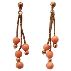 Pr Coral Gold Filled Dangling Earrings Pierced
