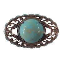 Art Deco Sterling Turquoise Glass Brooch Enamel