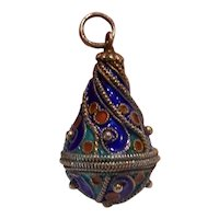 Sterling Silver Enamel Egg Shaped Pendant Charm Russian Cloisonne
