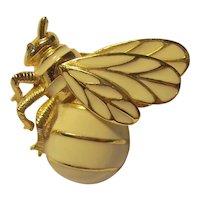 Figural Cream Enamel Bee Brooch Bug Trifari