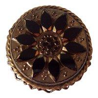 Original by Robert, Black Glass Sunflower Gold tone Brooch