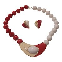 Trifari Red & Cream Enamel Necklace Earrings Red White Beads Gold tone Modernist