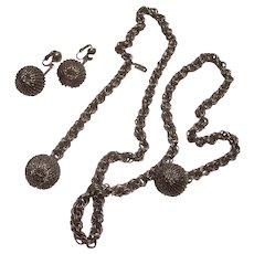 Unsigned Coro Long Dangling Balls Necklace & Earrings Silver tone