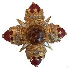 Benedikt N.Y. Maltese Cross Brooch Topaz Rhinestone & Faux Carnelian Gold tone