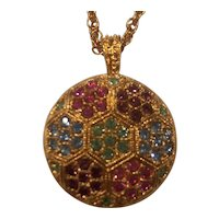 D'ORLAN Multi Color Crystal Pendant Necklace Gold tone