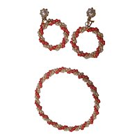 Faux Coral & Pearl Bangle & Dangle Hoop Earrings