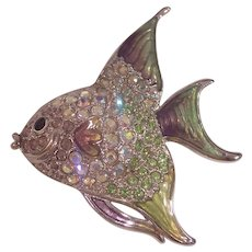 Beautiful Swarovski Crystal & Enamel Angel Fish Brooch Swan mark Silver tone