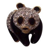 Attwood Sawyer A & S Panda Bear Brooch Crystals Black Enamel