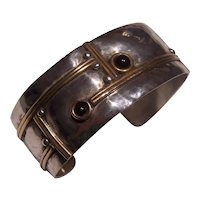 Louis Booth Sterling Silver & Brass Onyx Modernist Cuff Bracelet