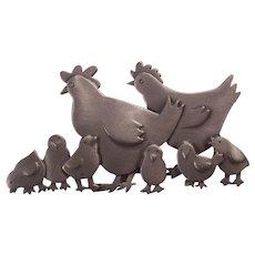 JJ Jonette Hen & Chicks Brooch Silver Pewter tone