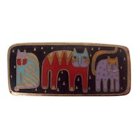 "Laurel Burch ""Fantastic Felines"" Enamel Cat Brooch Gold tone"