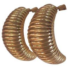 Chr. Dior Gold tone Ribbed half hoop Earrings