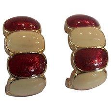 Vendome Red & Cream Enamel Gold tone Earrings
