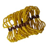 20 Strand Yellow Seed Bead & Wood Stretch Bracelet