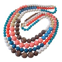 Huge Bold Colorful Wood & Resin Bead Necklace
