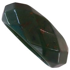 Green Mottled Thick Diamond Faceted Bangle Bracelet