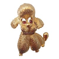 Pell Poodle Dog Textured Gold Pin
