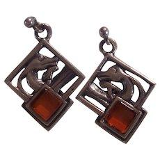 Sterling Silver & Amber Nessie Sea Serpent Pierced Earrings