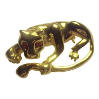 Puma Wild Cat Feline Gold tone Brooch Red Eyes