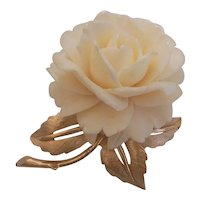 Vintage Boucher Carved Rose Flower in Gold tone Brooch