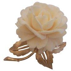 Vintage Boucher Carved Rose Flower in Gold tone Brooch