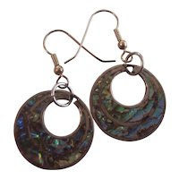 Sterling Silver Abalone Taxco Mexican Hoops Earrings Signed