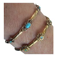 Pr Victorian 14K Gold Turquoise Bangle Bracelets