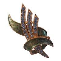 Hollycraft Blue Flower Spike with Green Enamel Swirl Brooch Gold tone