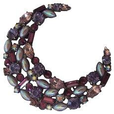Large Purple & Lavender Crescent Carolee Brooch