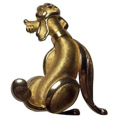 Trifari Figural Dog  Gold tone Poodle Crown Mark