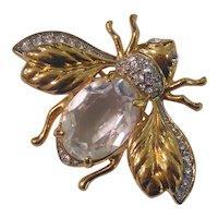 Swarovski Crystal Belly Bee Insect Brooch Gold tone Swan Signed