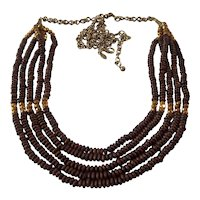 Joan Rivers 5 Strand Wood Bead Necklace with Metallic Gold Beads