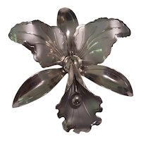 Vintage Large Orchid Brooch Silver tone