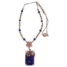 Art Deco Czech Molded Lapis Glass Necklace
