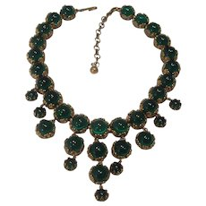 Gorgeous Green Glass Cabochon Ball Bib Necklace Art Deco Style