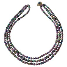 Triple Strand Purple AB Crystal Bead Necklace