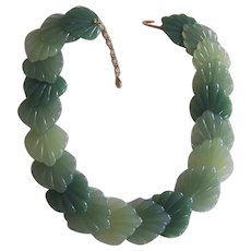 Green Lucite Faux Jade Leaf Necklace