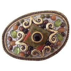 Asymmetrical Michal Golan Semi Precious Stone & Glass Cabochon Brooch Pendant