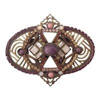 Lovely Sorrelli Semi Precious Stone & Austrian Crystal Brooch Gold tone