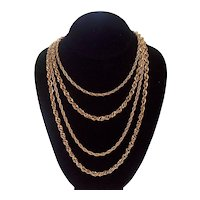 Trifari Multi Strand Chain Necklace Gold tone Crown Mark