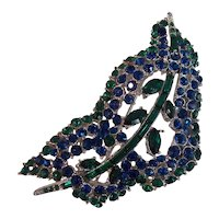 Stunning Vendome Blue & Green Crystal Brooch in Silver tone