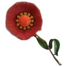 Hattie Carnegie Fiber Flower Enamel Brooch Orange