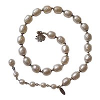 Miriam Haskell Faux Baroque Pearl Choker Necklace