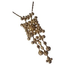 Etruscan Revival Large Dangling Pendant Necklace