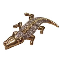 Vintage Alligator Brooch Crystals in Gold tone