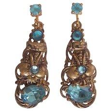 Old Jeweled Czech Earrings 20's/30's Czechoslovakia Gold tone Aqua to Blue