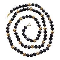 Napier Black & Gold tone Bead Necklace